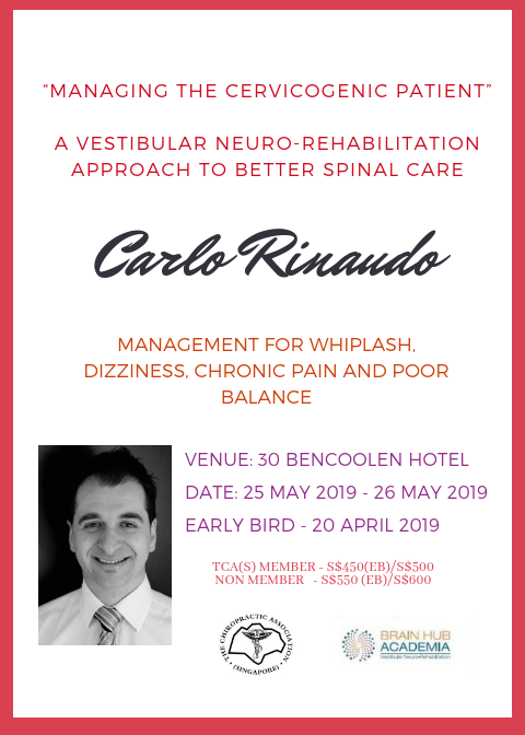"Carlo Rinaudo ""The Management of the Cerviocogenic patient from a Vestibularneuro-Rehabilitation Approach"" – 25,26th May 2019"