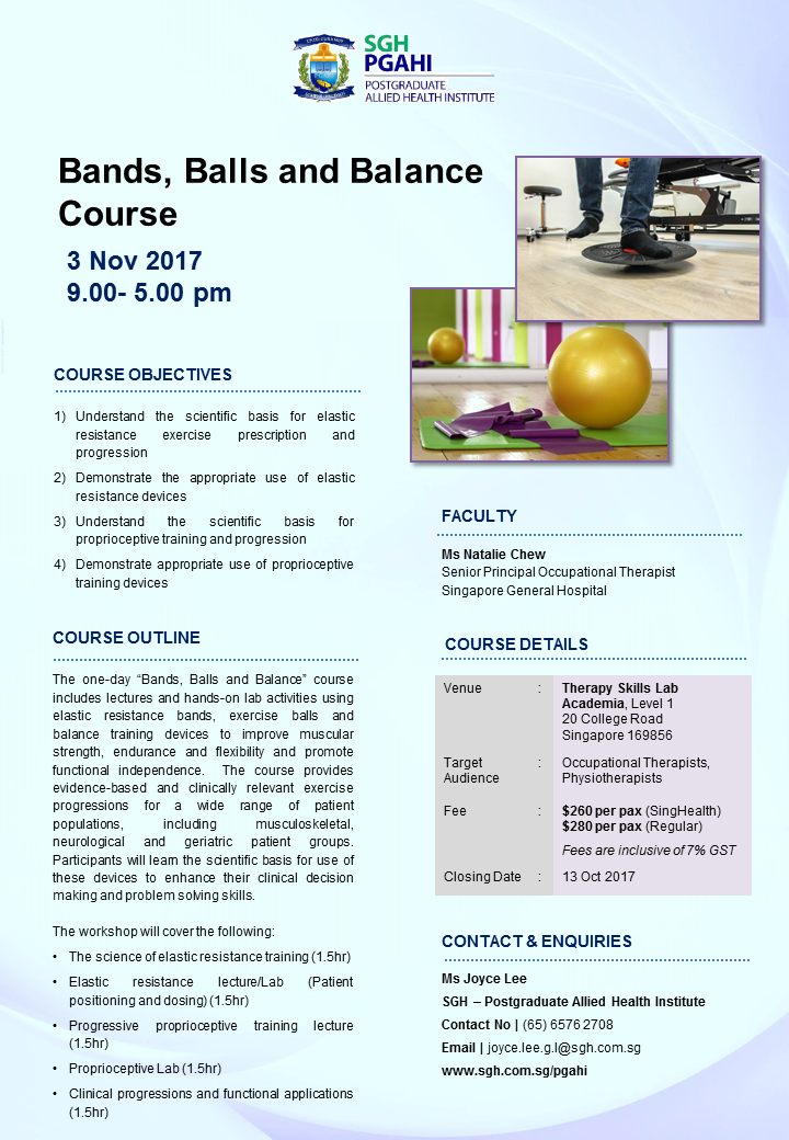 Continuing Education Courses by SGH-PGAHI Bands, Balls and Balance Course, 3 Nov 2017